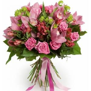 Букет из розовых роз, орхидеи и альстромерии R81
