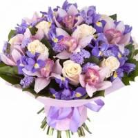 Сборный букет с орхидеями и ирисами R122